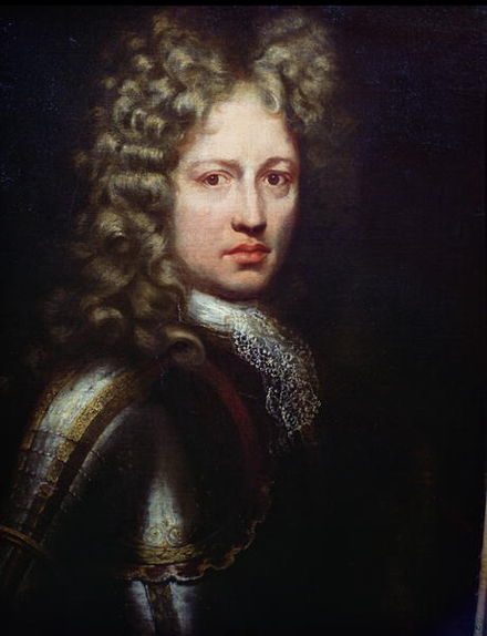 Jacobite cavalry officer Patrick Sarsfield. Sarsfield's large reserve of cavalry could have countered the Williamite advance, but he had been ordered not to move without specific orders by the Jacobite commander. Patrick Sarsfield, Earl of Lucan.jpg