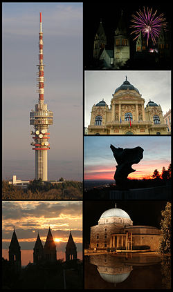 Pécs、Clockwise frae tap left:Pecs City Hall an Szechenyi Square, Gazi Kasim Pasha Mosque, Zsolnay Foontain, Facade biggit in Kiraly Utca aurie, Pecs Romanesque Cathedral