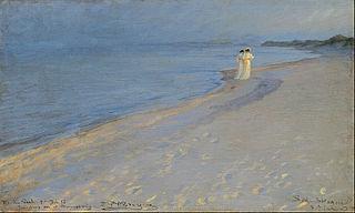 Sommeraften på Skagens Sønderstrand. Anna Ancher og Marie (skitse 27,8 x 45,8 cm)
