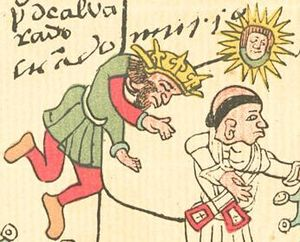 "Pedro de Alvarado - Alvarado's death, depicted in the indigenous Codex Telleriano-Remensis. The glyph to the right of his head represents his Nahuatl name, Tonatiuh (""Sun"")."