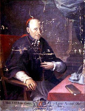 Tajumulco - Bishop Pedro Cortés y Larraz portrait; he arrived to Tejutla in 1770.