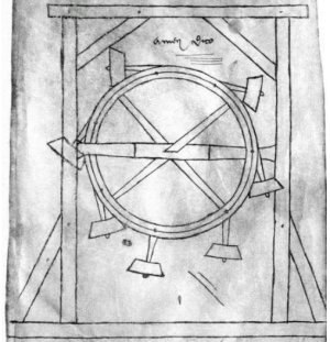 Perpetual motion - Perpetuum Mobile of Villard de Honnecourt (about 1230).
