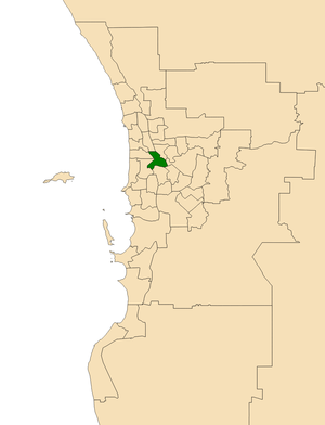 Electoral district of Perth - Location of the electoral district of Perth (dark green) in the Perth metropolitan area