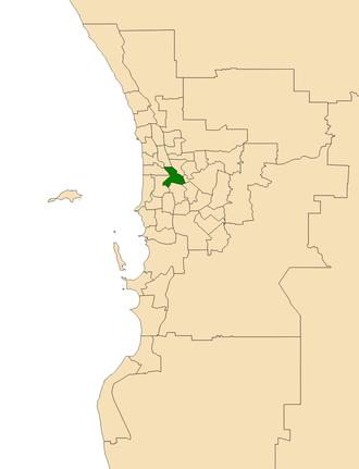 Electoral district of Perth - Location of the electoral district of Perth (dark green) in the Perth metropolitan area