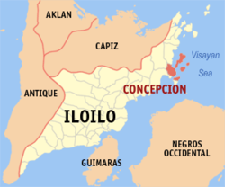 Map of Iloilo with Concepcion highlighted