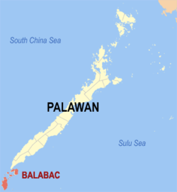 Map of Palawan with Balabac highlighted