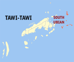 Map of Tawi-Tawi with South Ubian highlighted