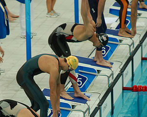 LZR Racer - Michael Phelps of the United States and Eamon Sullivan of Australia at the start of the 4×100 relay event at the 2008 Summer Olympics, Beijing. Both are wearing LZR Racer swimsuits