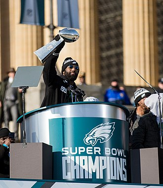 Malcolm Jenkins - Jenkins holds the Vince Lombardi Trophy at the Eagles' Super Bowl Parade