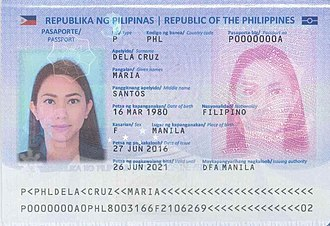 """Juan dela Cruz - An official sample of a Philippine passport with """"Maria dela Cruz"""" as the fictitious placeholder owner of the document."""