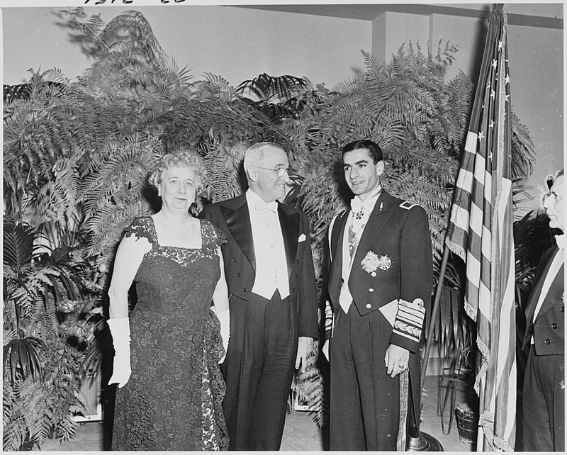 Photograph of the President and Mrs. Truman with the Shah of Iran, in formal attire, during the Shah%27s visit to the... - NARA - 200150.jpg