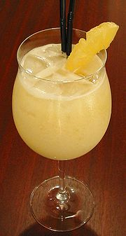 This fruity, blended Piña Colada is typical of many rum-based cocktails.