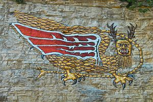 """Piasa - A modern reproduction of the """"Piasa Bird"""", on the bluffs of the Mississippi River in Alton. Wings were not described in Marquette's 1673 account."""