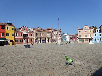 Burano's Piazza Galuppi is named for the composer Piazza Galuppi in Burano.JPG