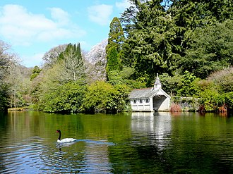 Trevarno, Cornwall - The classical view across the lake to the listed Victorian boathouse