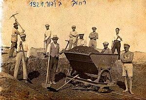 Third Aliyah - Jewish pioneers building Balfour Street in Tel Aviv, 1921