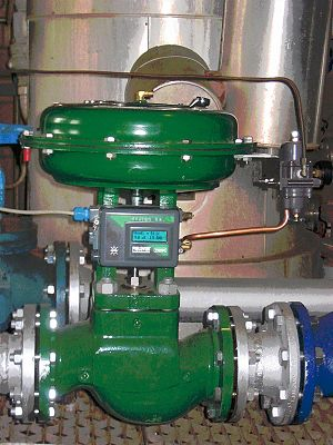 "Servomechanism - Globe control valve with pneumatic actuator and ""positioner"". This is a servo  which ensures the valve opens to the desired position regardless of friction"