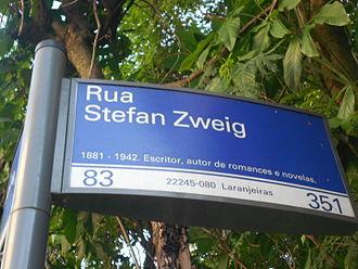 Stefan Zweig - Street named after Zweig in Laranjeiras, Rio de Janeiro