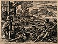 Plague, war and famine. Etching by Sadler after M. de Vos. Wellcome V0010577.jpg