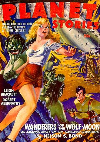 "Graham Ingels - Ingels's only cover for an sf pulp, illustrating Nelson S. Bond's ""Wanderers of the Wolf Moon"" for Planet Stories in 1944"