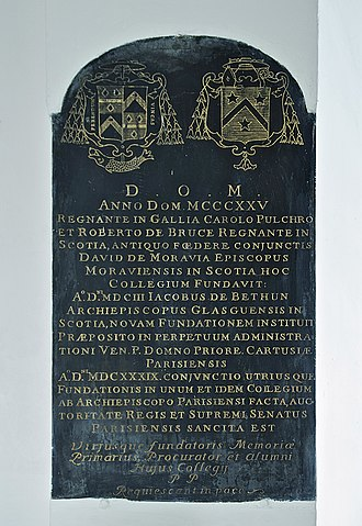 David de Moravia - In the chapel of the Scots College in Paris, old plaque relating the foundation of the College by David de Moravia, with his Coat of Arms (right)