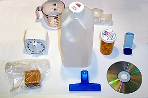 Plastic pollution - Household items made of various types of plastic.