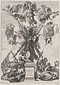 Plate 33- Armorial trophy on a Tuscan column, surrounded by allegorical figures and cherubs bearing the armorial shields of Ferdinand; from Guillielmus Becanus's 'Serenissimi Principis Ferdinandi, Hispaniarum Infantis...' MET DP874820.jpg