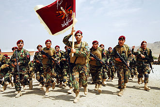 Afghan National Army Commando Corps - A platoon of newly graduated Commandos quick-time march following a graduation ceremony (August 2010).
