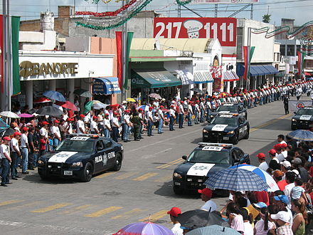 Vehicles of the Policia Federal in a parade in Tepic, 2010 Policia Federal (Mexico) cars at parade.jpg