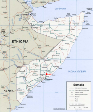 "Jowhar - Political map of Somalia showing the location of Jowhar (here spelled ""Giohar""), north of Mogadishu, with a red dot."