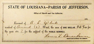 Poll taxes in the United States - Receipt for payment of poll tax, Jefferson Parish, Louisiana, 1917 (the $1 tax would be equal to $18.77 in 2016 dollars)