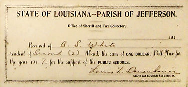 Receipt for payment of poll tax, Jefferson Parish, Louisiana, 1917 (the $1 tax has the purchasing power of $20 today) PollTaxRecieptJefferson1917.JPG