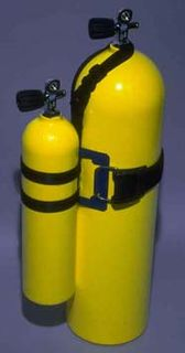 Pony bottle Small independent scuba cylinder usually carried for emergency gas supply