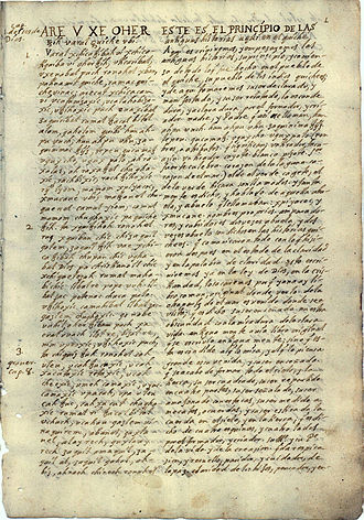 Popol Vuh -  The oldest surviving written account of Popol Vuh (ms c. 1701 by Francisco Ximénez, O.P.)
