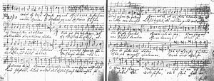 Melchior Vulpius - The beginning of Vulpius' St Matthew Passion in Pori trivial school's Discantus part book (1725). Text in Swedish and in Finnish
