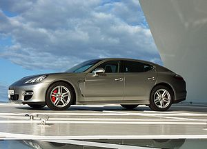 Porsche Panamera outside of the Porsche-Museum...