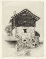 Posses-Dessous barn etching 24x31cm'80.tif