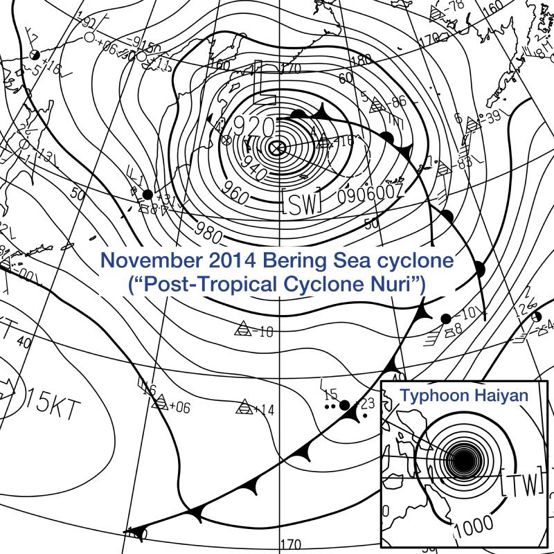 Post-Tropical Cyclone Nuri and Typhoon Haiyan surface analysis.png