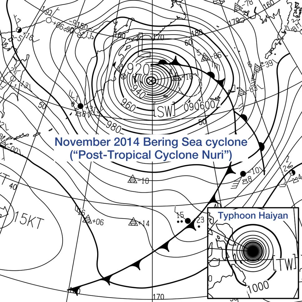 Post-Tropical Cyclone Nuri and Typhoon Haiyan surface analysis