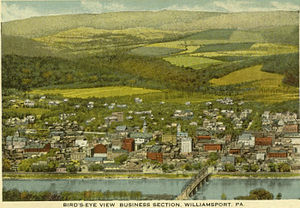 Williamsport, Pennsylvania - Aerial view, about 1919