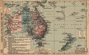Europeans in Oceania - Historical map of Australia and New Zealand 1788-1911