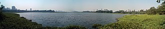 Powai Lake - Panorama of Powai Lake, seen from the campus of IIT Bombay, in December 2012