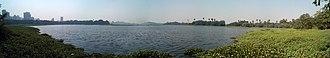 Powai Lake - Panorama of Powai Lake, seen from the campus of IIT Bombay, in December 2012