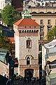 Pozostałości murów obronnych Krakowa- Brama Floriańska (widok z wieży kościoła Mariackiego); A-8; PL-MA, Kraków, ul. Pijarska-Floriańska.jpg