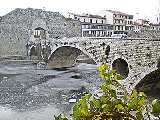 Bisenzio (river) - Iced Bisenzio river at Mercatale bridge in Prato