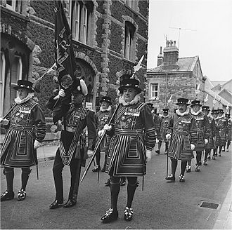 Caernarfon - Scene in Caernarfon on Investiture day 1969.