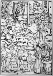 Supplices de sorcières.Gravure illustrant le Laienspiegel d'Ulrich Tengler (Mayence, 1508).
