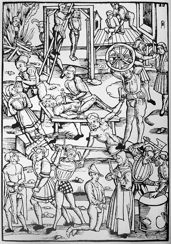 Punishments for witchcraft in 16th-century Germany. Woodcut from Tengler's Laienspiegel, Mainz, 1508. - Witch trials in the early modern period