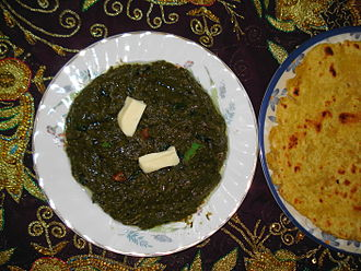 Saag - Sarson da saag with makki di roti and butter topping