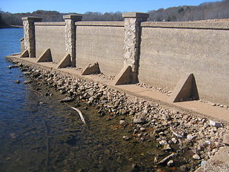 Monte Ne - Retaining wall that was built for the Pyramid. It is normally submerged.